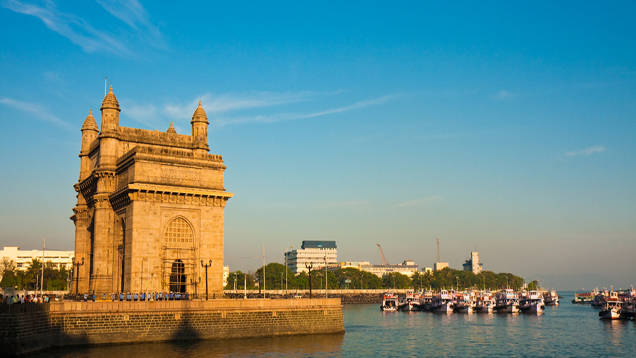 Gateway of India at sunset in Mumbai.